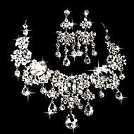 סט תכשיטים לנשים יום שנה / חתונה / ארוסים / מתנה / מסיבה / אירוע מיוחד סטי תכשיטים סגסוגת / ריינסטון ריינסטון שרשראות / עגילים כסף