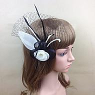Women's Feather/Net Headpiece - Wedding/Party Black Fascinators 1 Piece