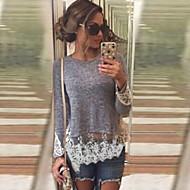 Blusa Da donna Casual Semplice Autunno,Collage Rotonda Cotone Grigio Manica lunga Medio spessore