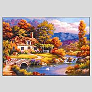 מצויר ביד פרחוני/בוטנימודרני / סגנון ארופאי פנל אחד בד ציור שמן צבוע-Hang For קישוט הבית