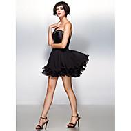 Cocktail Party Dress - Black A-line Sweetheart Short/Mini Chiffon/Stretch Satin