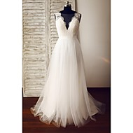 A-line Wedding Dress - Ivory Sweep/Brush Train Scoop Lace / Tulle