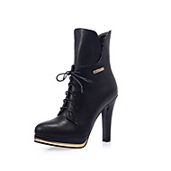 Women's Shoes  Stiletto Heel Platform/Combat Boots/Round Toe Boots Casual Black/White/Burgundy