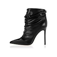 Women's Shoes Leather Stiletto Heel Bootie Boots Office & Career / Dress / Casual Black