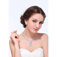 Conjunto de jóias Cristal / Strass / Zircônia Cubica Prateado / Liga Mulheres