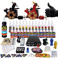 tatuagem solong completa tatuagem kit 2 máquinas pro 28 tintas apertos agulha de fornecimento de energia