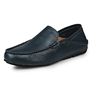 Men's Summer Fall Moccasin Leather Office & Career Casual Flat Heel Black Blue Brown