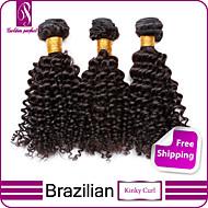 """3pcs / lot 12 """"-30"""" cabelo humano de 100% os pêlos 6a brasileiro virgem preto natural encaracolado Kinky humano tece grosso&macio"""