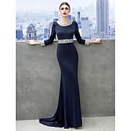 Formal Evening / Black Tie Gala Dress Sheath/Column Scoop Sweep/Brush Train Jersey