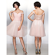 TS Couture Cocktail Party Dress - Pearl Pink A-line Off-the-shoulder Knee-length Chiffon / Lace / Tulle
