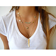Women's Metal Feather Pendant Turquoise Sequins Tassel Multilayer Chain Necklace