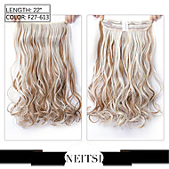 """Neitsi® 1pc 110g 22"""" 3/4 Full Head 5clips Kanekalon Synthetic Braiding Hair Pieces Clip In/on Wavy Extensions F27-613#"""