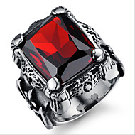 Domineering Retro Inlaid Ruby Ring Titanium Man