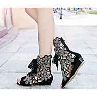 Women's Shoes Leather Wedge Heel Wedges/Peep Toe Sandals Wedding/Party & Evening/Dress Black
