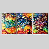Ručně malované AbstraktníModerní / evropský styl Tři panely Plátno Hang-malované olejomalba For Home dekorace