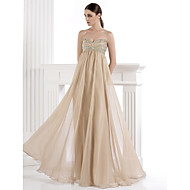 Formal Evening Dress A-line Sweetheart Floor-length Chiffon / Spandex with Beading / Crystal Detailing