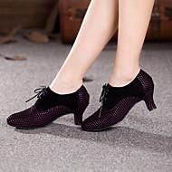 Chaussures de danse(Jaune Fuchsia) -Non Personnalisables-Talon Cubain-Daim-Moderne