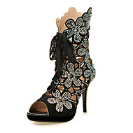 Women's Spring Summer Fall Leather Wedding Party & Evening Dress Stiletto Heel Crystal Lace-up Plaid Black Blue