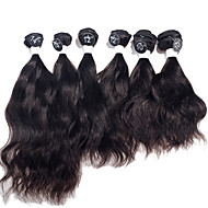 "Indian Natural Wave Virgin Hair Extensions Top Grade 6pcs Human Hair Weaves 2x10"", 2x12"", 2x14"" 200g/Set"