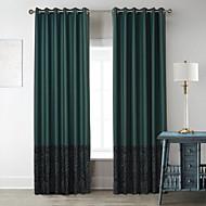 Neoklasicistní dva panely znaky tmavě zelený obývací pokoj poly bavlna směs panelové záclony závěsy