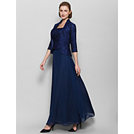 Lanting Ankle-length Chiffon Bridesmaid Dress - Dark Navy Sheath/Column Square