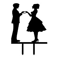 The Hand in Hand Paper Bride and Groom Cake Topper