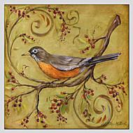 peintures à l'huile moderne fleur et le style des oiseaux matériel de toile avec châssis en bois prêt à accrocher taille: 70 * 70cm.