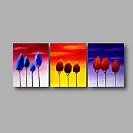 handgemaltes Ölgemälde auf Segeltuchwandkunst zeitgenössische abstrakte Bäume sunrise Home Deco drei Platte fertig zum Aufhängen