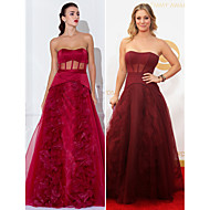 Formal Evening / Prom / Military Ball Dress - Burgundy Plus Sizes / Petite A-line / Princess Strapless Floor-length Satin / Organza