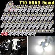 50 PCS Pure white T10 5-SMD 5050 6000K License Plate LED Light W5W 168 194 2825