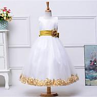 A-line Tea-length Flower Girl Dress - Cotton / Tulle / Polyester Sleeveless