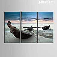 E-HOME® Stretched Canvas Art Broken Boat on The Beach Decoration Painting Set of 3