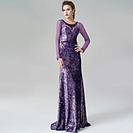 Formal Evening Dress - Lilac A-line Scoop Sweep/Brush Train Velvet