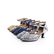 Chaussures de danse(Bleu Argent Or Multicolore Autre) -Non Personnalisables-Talon Cubain-Similicuir Paillette Brillante Paillette