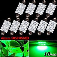 "10 X 578 211-2 Festoon 1.72"" Green 42MM 5050 8-LED Dome Map Interior Light bulb"