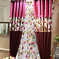 (Two Panels)Country Solid Lined With Colorful Flower Cotton Polyester Blend Blackout Curtain(Sheer Not Included)