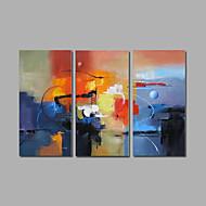 pronto para pendurar a pintura a óleo pintados à mão esticada sobre a arte da parede da lona de cor azul abstrato contemporâneo de três