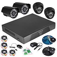 זיהוי תנועת DVR D1 המלא CCTV 4CH 600 מערכת חיצונית TVL מקורה לילה מצלמה החזון