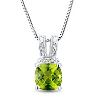 Classic Sterling Silver Platinum-Plated with Peridot and Diamonds Women's Pendant with Silver Box Chain