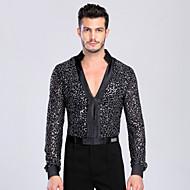 Latin Dance Tops Men's Performance / Training Chinlon / Spandex Buttons 1 Piece Long Sleeve TopSleeve Length: M:60 cm / L:62 cm / XL:65