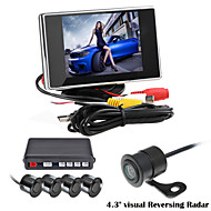 RenEPai® 3.5 Inch 4 probe Parking Sensors LCD Display Camera Video Car Reverse Backup Radar System Kit Buzzer Alarm 12V