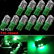 10X Vivid Green T10 Wedge 10-SMD LED Interior Light W5W 2825 158 192 168 194 906