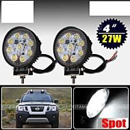 2 x 27W SPOT Work LED Light Bar Round Lamp Offroad SUV Car Boat Truck 12V 24V
