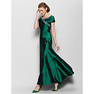 Lanting Bride® A-line Mother of the Bride Dress Ankle-length Short Sleeve Taffeta with Beading / Side Draping