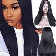 "Unprocessed 10""-24"" Brazilian Virgin Hair Natural Black Yaki Straight U Part Wig 2""X4"" Middle Part Upart Wigs"