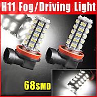 2x 68-SMD автомобилей ксенон белый привело H11 туман вождения DRL лампы свет лампы 12v 6000k
