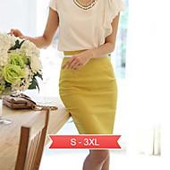além de tamanho preto sólido branco Pencil Skirt / / vermelho mulheres, trabalhar elevado aumento acima do joelho