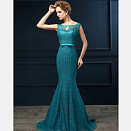 Formal Evening Dress Trumpet / Mermaid Scoop Sweep / Brush Train Lace with Beading / Bow(s)