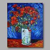 Ready to hang Stretched Hand-Painted Oil Painting Canvas Abstract Van Gogh repro Red Poppies Flowers One Panel