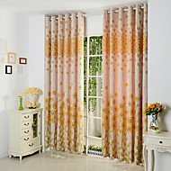 Two Panels Yellow Floral  Botanical Poly  Cotton Blend Panel Curtains Drapes
